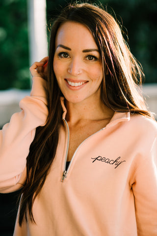 Peachy 1/4Zip Pullover~ Adult Unisex