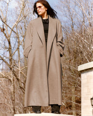 Cashmere coat with shawl collar.