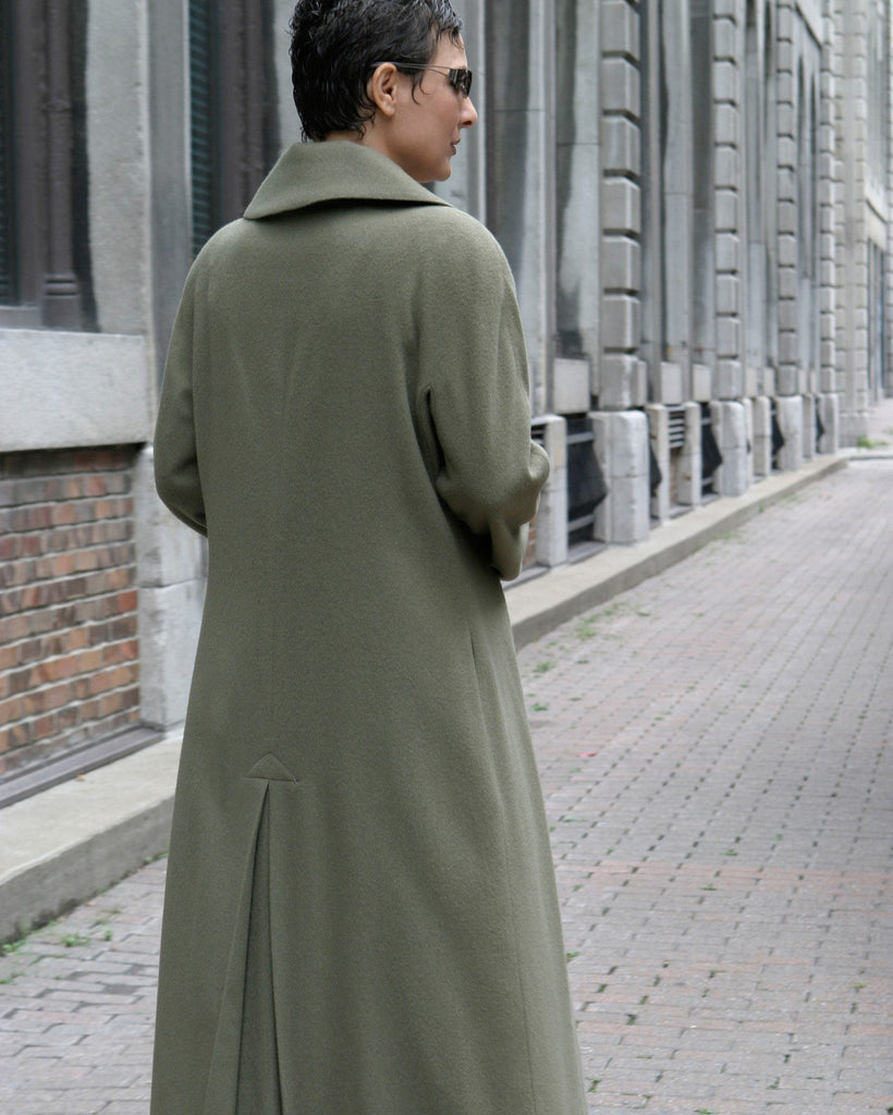 Long semi fitted cashmere coat back view