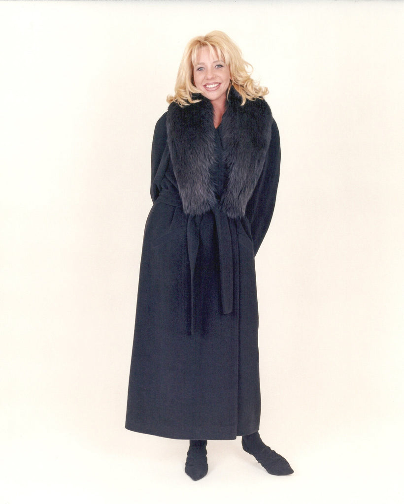 Robe style cashmere coat with shawl collar