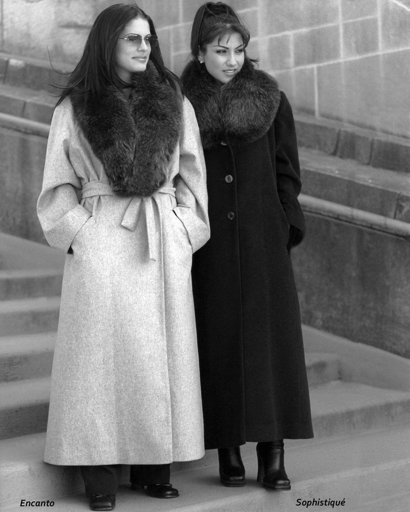 Pure cashmere coats with fox collar