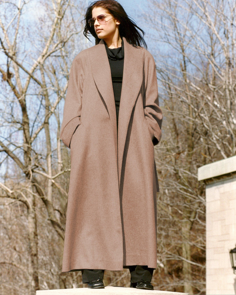 Wrap around cashmere coat with shawl collar