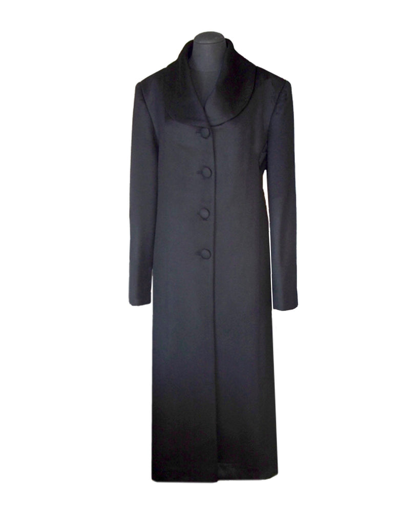 black Ladies luxury cashmere coat with fox trim collar