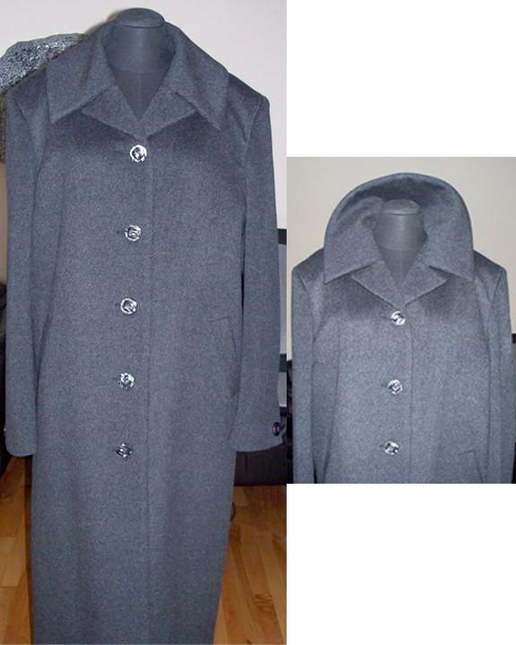 Striped charcoal cashmere coat on sale