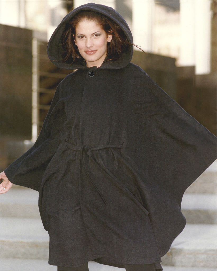 Ladies cashmere cape with a hood