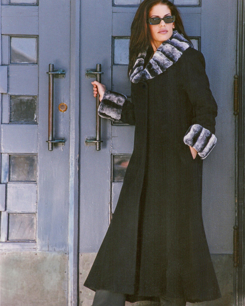 Long Cashmere Coat Chinchilla Trim - Adore