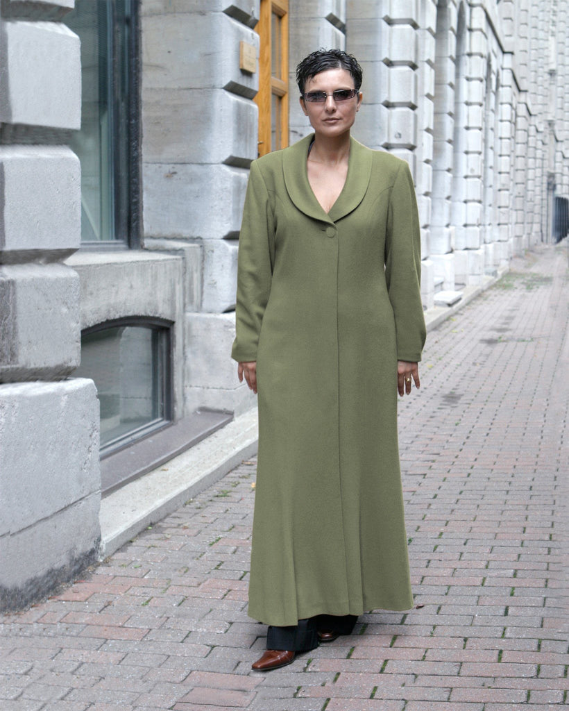 Pure cashmere coat on sale green color
