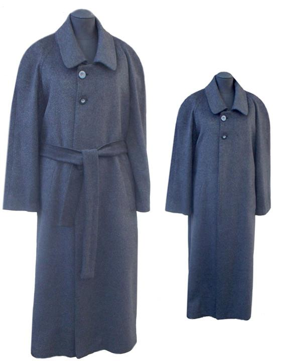 Men's coat in striped charcoal pure cashmere
