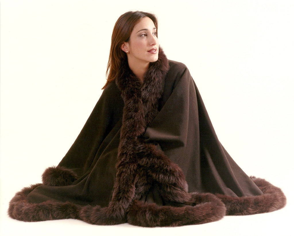 Wrap around cashmere cape