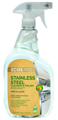Stainless Steel Cleaner & Polish, Earth Friendly ECOS Pro Product, 6 pk - 32 oz spray