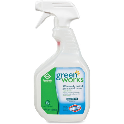 Green Works Natural Glass & Surface Cleaner, Spray, 32 fl. oz.