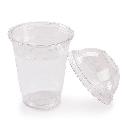 Fabri-Kal Squat 9 oz. Parfait Cup w/ 4 oz. Insert, Flat Lid and Dome Lid, 100/pack