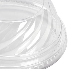 "Fabrikal PET Clear Dome Lid, Fits 5 - 24 oz., 1"" Hole, 100/10/case"