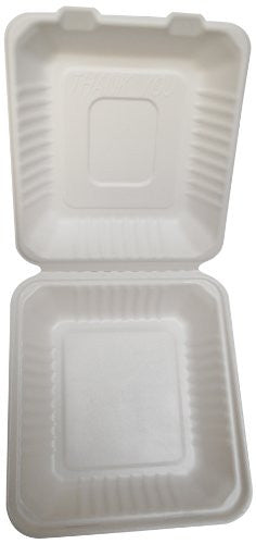 "PrimeWare Molded Fiber Hinged Lid Container, 9 x 9 x 3.19"", 100/2/case"