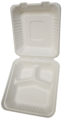 "PrimeWare Molded Fiber Hinged Lid Container, 3 Comp., 7.875 x 8 x 2.5"", 2/100/case"