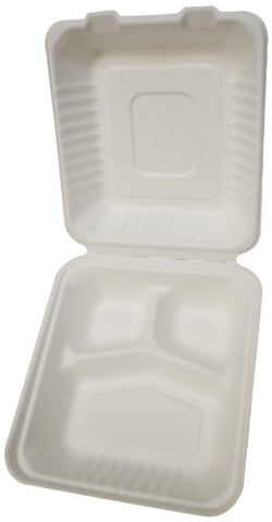 PrimeWare Molded Fiber Hinged Lid Container, 3 Comp., 7.875 x 8 x 2.5