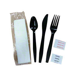 Goldmax Meal Kit, Black, w/ Knife/Fork/Spoon/Napkin 250/case