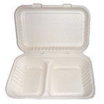 "Hinged Lid Container, Large, 9 x 9 x 3.19"", 2/100/case"