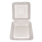 "Hinged Lid Container, PLA Lined, Molded Fiber, Large, 9 x 9 x 3.19"", 2/80/case"