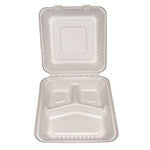 Hinged Lid Container, PLA Lined, Molded Fiber, Large, 3-section, 9 x 9 x 3.19