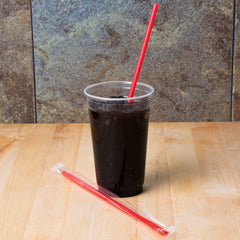 "Giant Straws, Wrapped, Red, 10-1/4"", 4/300/case"