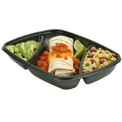 "Sabert® FastPac™ Rectangle 3-Cmpt. Tray, Black, 22/6.5/6.5 oz., 11 x 8"", 150/case"