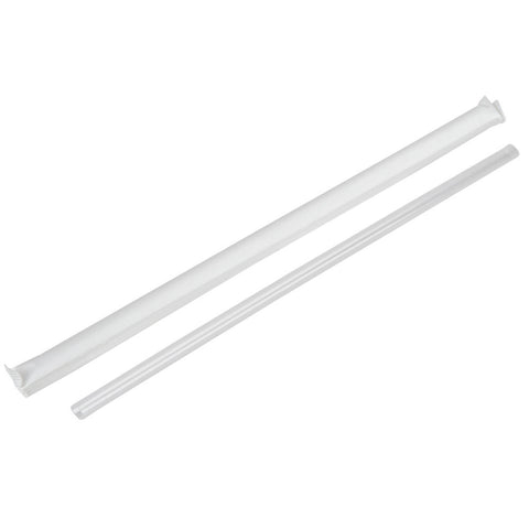 Jumbo Wrapped Straw, Clear, 10-1/4