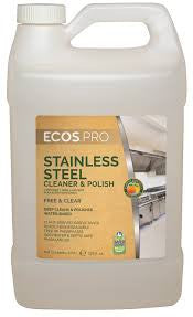 Stainless Steel Cleaner & Polish, Earth Friendly ECOS Pro Product, 4 pk - gallon