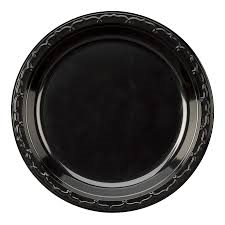 "Genpak 6"" Silhouette Heavy Weight Black Plastic Plate, 1000/case"