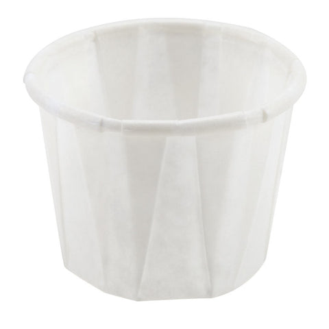 Solo White Paper Souffle / Portion Cup, 3.5 oz., Paper, White, 100/pack