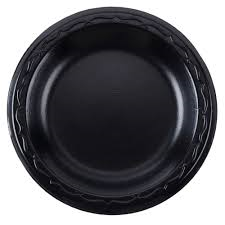 "Genpak 8-7/8"" Laminated Black Foam Plate, 500/case"