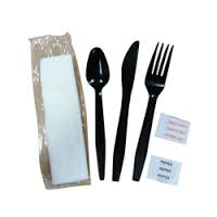 Goldmax Meal Kit, Black, w/ Fork/Knife/Spoon/Napkin/S&P, 250/case