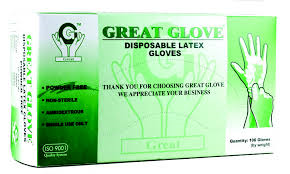 Great Glove - Powder Free Latex Glove - Large, 100 gloves/box, 10 boxes/Case