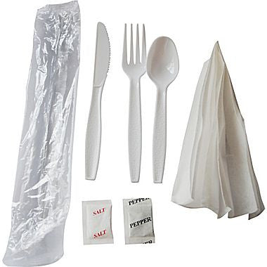 Sunset Heavy Duty Wrapped Cutlery Kit, 6-Piece, w/ Fork/Knife/Spoon/Napkin/S&P, White