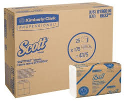 "KC ScottFold M Towels, White, 9.4 x 12.4"", 25 packs of 175 towels, 4,375 towels/case"