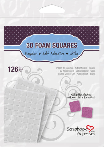 Scrapbook Adhesives 3D Regular Foam Squares White Self-Adhesive Foam Square Sheets