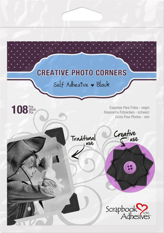 Scrapbook Adhesives Black Self-Adhesive Scrapbook Photo Corners