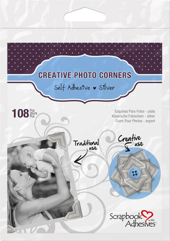 Scrapbook Adhesives Silver Self-Adhesive Scrapbook Photo Corners