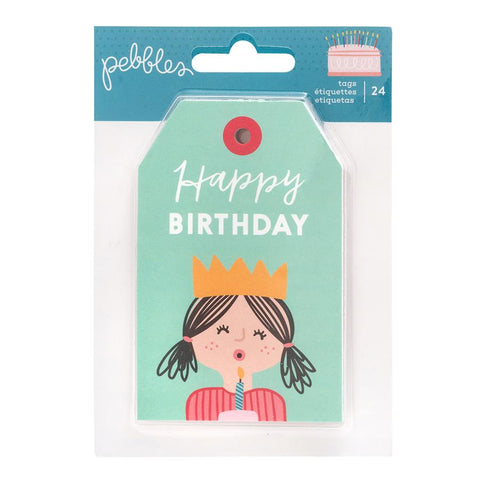 Pebbles Happy Cake Day Tag Pad Embellishments