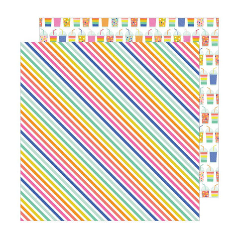 Pebbles Live Life Happy Rad Stripes Patterned Paper