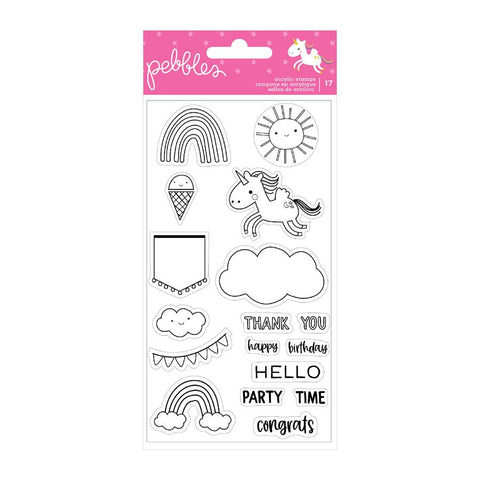 Pebbles Live Life Happy Clear Acrylic Stamp Set