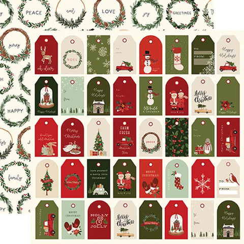Carta Bella Hello Christmas Holiday Tags Patterned Paper