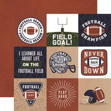 Echo Park Football 4X4 Journaling Cards Patterned Paper