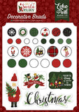 Echo Park Here Comes Santa Claus Decorative Brad Embellishments