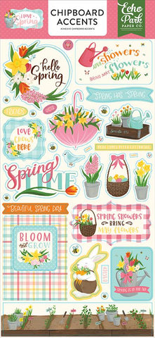 Echo Park I Love Spring 6x13 Chipboard Accent Embellishments