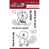 Photoplay Paper O Canada 2 Beaver Hockey Clear Acrylic Stamp Set