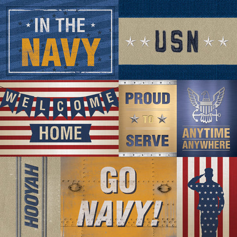 Paper House Productions Heroes Navy Tags Patterned Paper