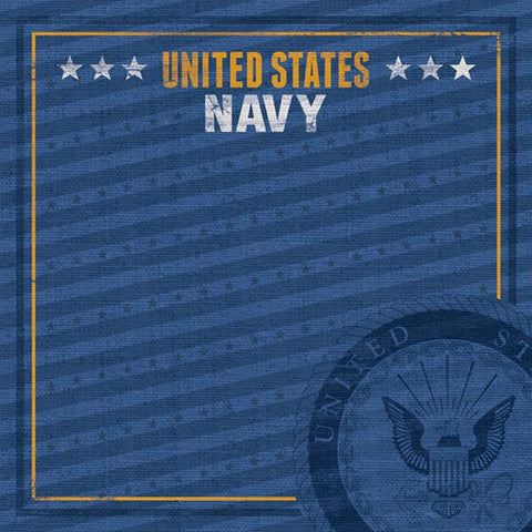 Paper House Productions Heroes Navy Emblem Patterned Paper
