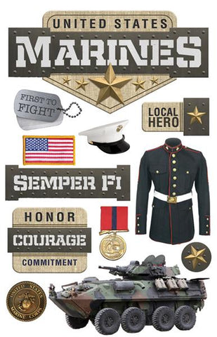 Paper House Productions Heroes Marines Dimensional Stickers