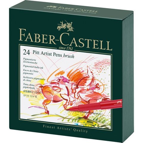 Faber Castell India Ink Pitt Artist Pen B Studio Box Of 24 - ucoomy
